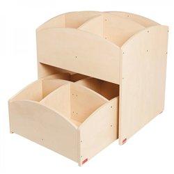 Bacs à livres 4 cases haut et bas bouleau Mobinathan - Offre spéciale
