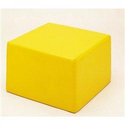 Pouf carré jaune