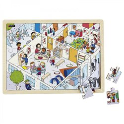 Puzzle bois juxtaposable - L'école