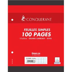 Feuillet recharge classeurs 100 pages 80g 17x22 cm seyes  - blanc (Etui de 50)