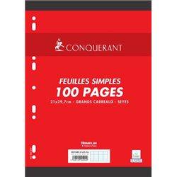 Feuillet recharge classeurs 100 pages A4 seyes 80g - Blanc (Etui de 50)
