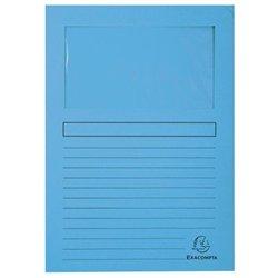 Pochette coin en carte à fenêtre 22x31 cm (Paquet de 100) - Bleu