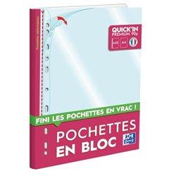 Bloc 40 pochettes détachables Quick'in polypro perforées 9/100e lisse incolore A4