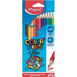 Etui 12 crayons de couleurs bois Maped 'Color'Peps Star' assorties