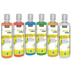 Assortiment 6 flacons 500 ml Acry'Color Pebeo peinture pailleté
