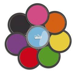 Ensemble de 8 tampons encreurs géants Ø 88 mm en couleurs assorties