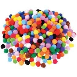 Sachet 200 mini pompons Ø 8 mm couleurs assorties