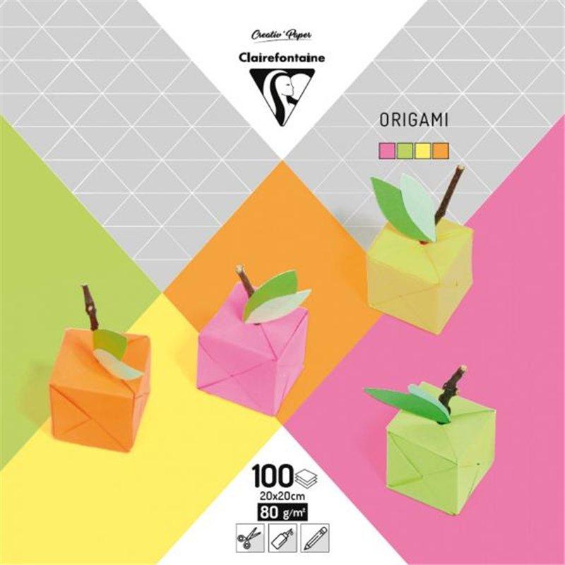 Pochette 60 feuilles papier fluo 70g origami 20 x 20 cm