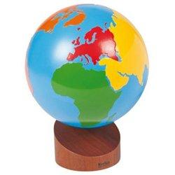 Globe des continents colorés