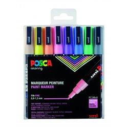 Set 8 markers POSCA pastel pointe conique fine 1,5 mm