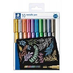 Pochette 10 marqueurs encre métallisée pointe biseautée couleurs assorties