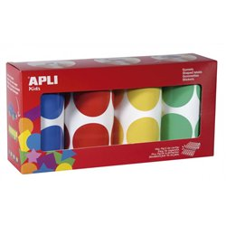Ensemble de 4 rouleaux de gommettes maxi format rondes diamètre 45 mm couleurs assorties