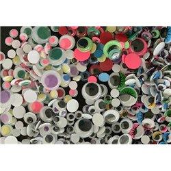 500 yeux Diam.8 à 18mm couleurs assorties non-adhésif