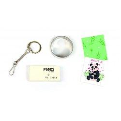 Atelier 12 médaillons en FIMO panda