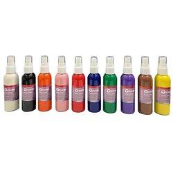 Set de 10 vaporisateurs 75 ml peinture pour tissus + pochoirs