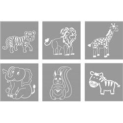 Set 6 pochoirs animaux de la ferme 15 x 15 cm